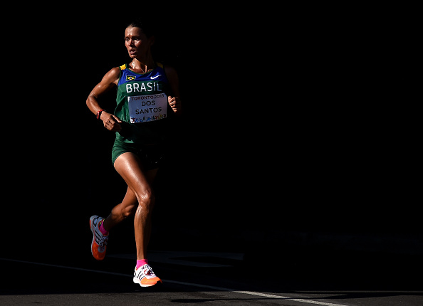 TORONTO, ON - JULY 18: Marily Dos Santos of Brazil competes in the women's marathon during the 2015 Pan Am games on July 18, 2015 in Toronto, Canada. (Photo by Harry How/Getty Images)
