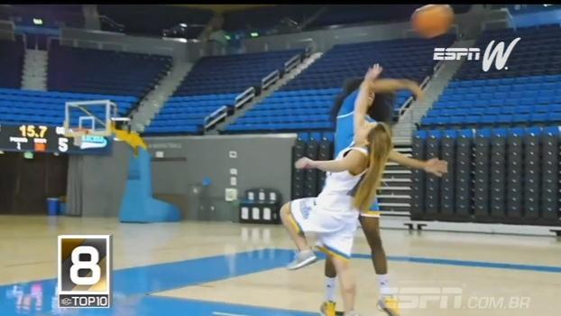 Tocaços no basquete da NCAA e de uma pivô em uma…ginasta? Confira o Top 10 do espnW