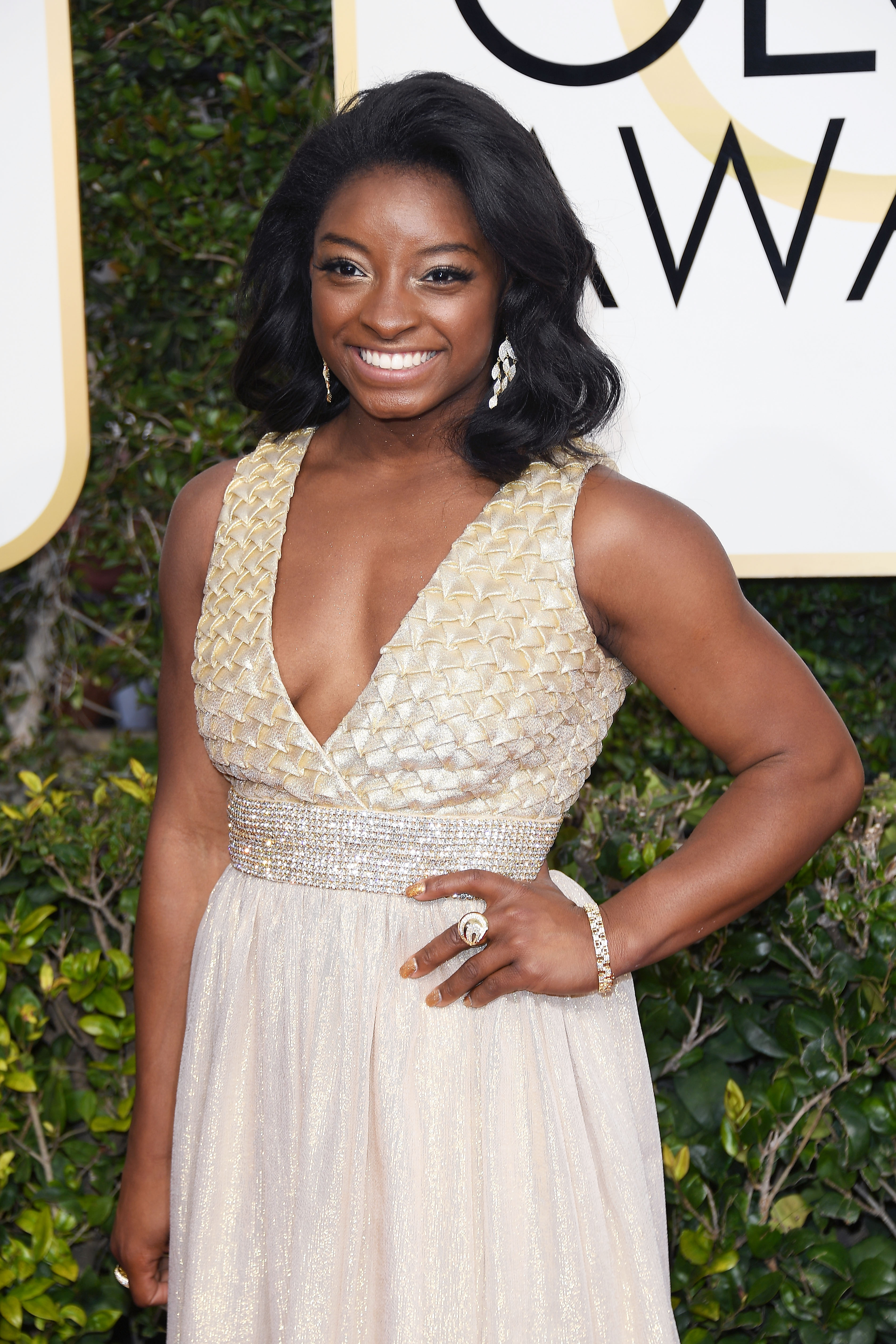 BEVERLY HILLS, CA - JANUARY 08: Simone Biles attends the 74th Annual Golden Globe Awards at The Beverly Hilton Hotel on January 8, 2017 in Beverly Hills, California. (Photo by Venturelli/WireImage)