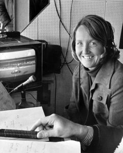 12th April 1973: The cricketer Rachael Heyhoe-Flint at work in the commentary box at Wembley Stadium, London. She is television's first woman sports commentator and also captain of the England Women's team. (Photo by Keystone Features/Getty Images)
