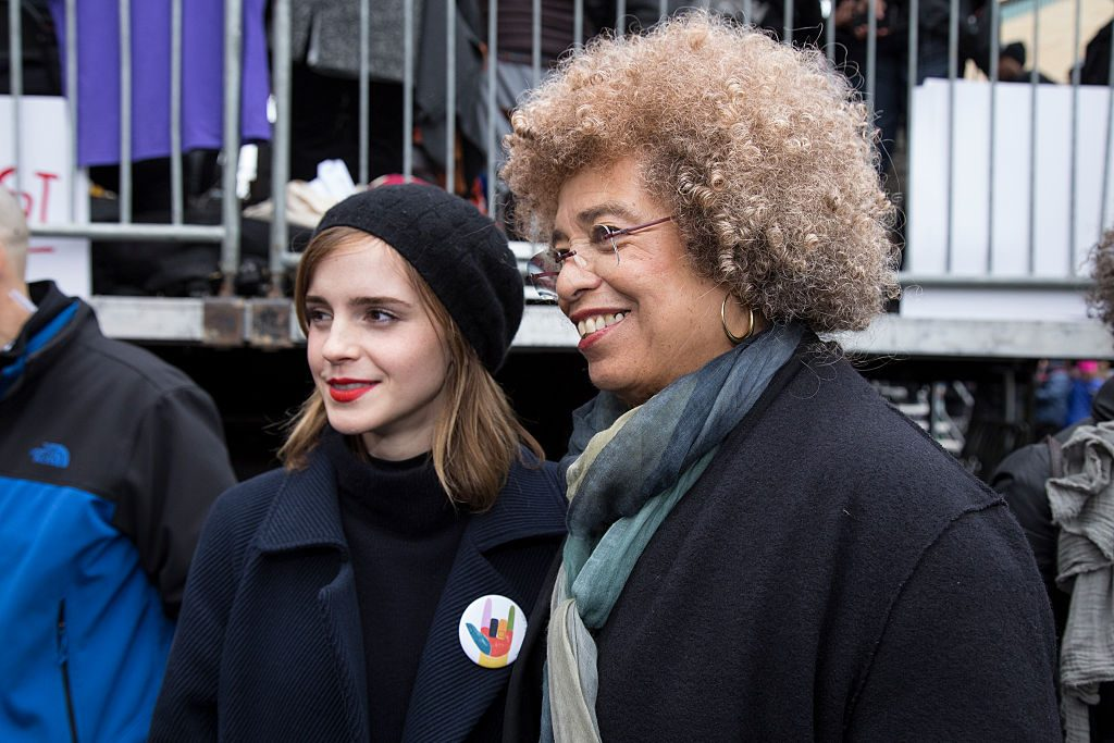 WASHINGTON, DC - JANUARY 21: Emma Watson (L) and Angela Davis attends the rally at the Women's March on Washington on January 21, 2017 in Washington, DC. (Photo by Brian Stukes/WireImage)