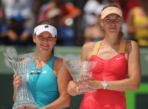 KEY BISCAYNE, FL - MARCH 31: Agnieszka Radwanska of Poland poses with the trophy after beating Maria Sharapova of Russia in the women's singles final on day 13 of the Sony Ericsson Open on at Crandon Park Tennis Center on March 31, 2012 in Key Biscayne, Florida. (Photo by Michael Regan/Getty Images)