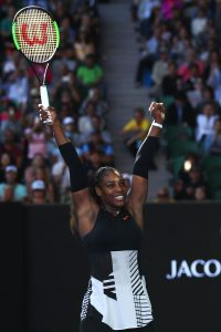 MELBOURNE, AUSTRALIA - JANUARY 26: Serena Williams of the United States celebrates winning her semifinal match against Mirjana Lucic-Baroni of Croatia on day 11 of the 2017 Australian Open at Melbourne Park on January 26, 2017 in Melbourne, Australia. (Photo by Clive Brunskill/Getty Images)