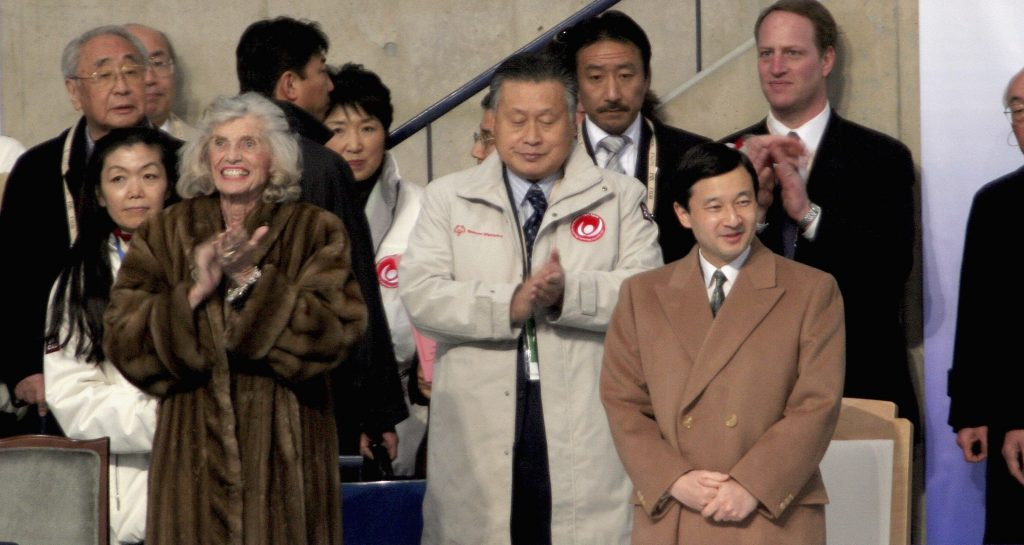 NAGANO, JAPAN - FEBRUARY 26: Crown Prince Naruhito(R) and Eunice Kennedy Shriver, founder of Special Olympics(L) attend the opening celemony of the Special Olympics on February 26, 2005 in Nagano, Japan. Japanese Crown Prince Naruhito is in Nagano on a two day visit to attend the Special Olympics that opens on February 26 and ends on March 5.. Originally his wife Crown Princess Masako was planning to attend this, but due to her sickness, trip out side Tokyo on her duty was cancelled. (Photo by Junko Kimura/Getty Images)
