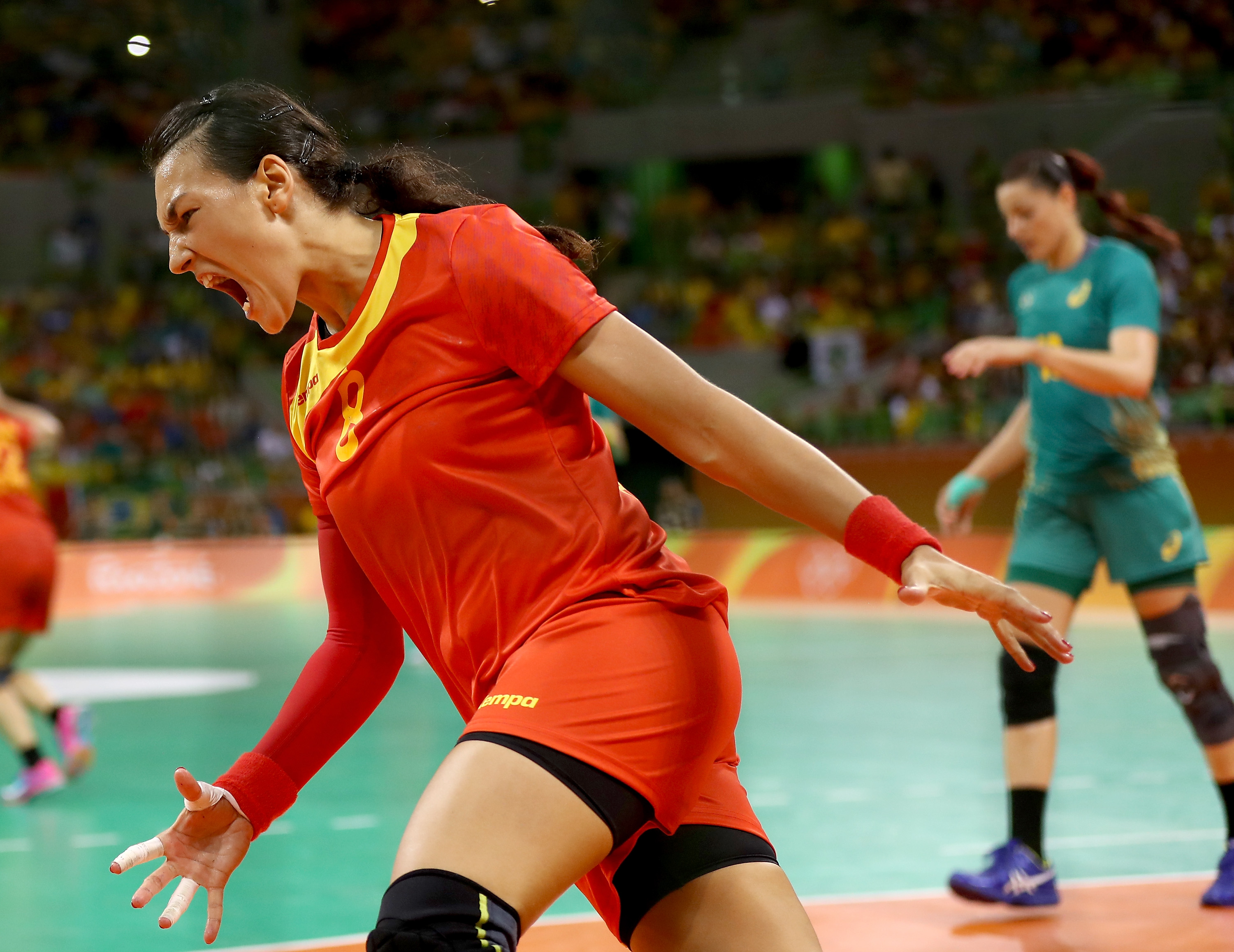 RIO DE JANEIRO, BRAZIL - AUGUST 08: Cristina Neagu #8 of Romania celebrates her goal in the first half against Brazil on Day 3 of the Rio 2016 Olympic Games at the Future Arena on August 8, 2016 in Rio de Janeiro, Bra (Photo by Elsa/Getty Images)