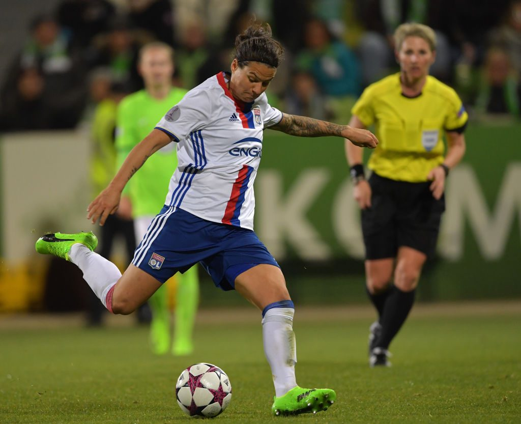 WOLFSBURG, GERMANY - MARCH 23: Dzsenifer Marozsan of Lyon scores her goal during the UEFA Women's Champions League Quater Final first leg match between VfL Wolfsburg and Olympique Lyon at AOK-Stadion on March 23, 2017 in Wolfsburg, Germany. (Photo by Stuart Franklin/Getty Images)