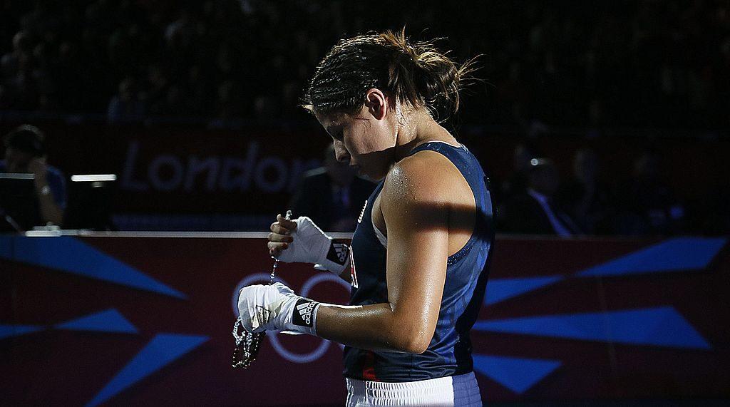 Marlen Esparza após perder nos Jogos Olímpicos de Londres 2012 (GettyImages)