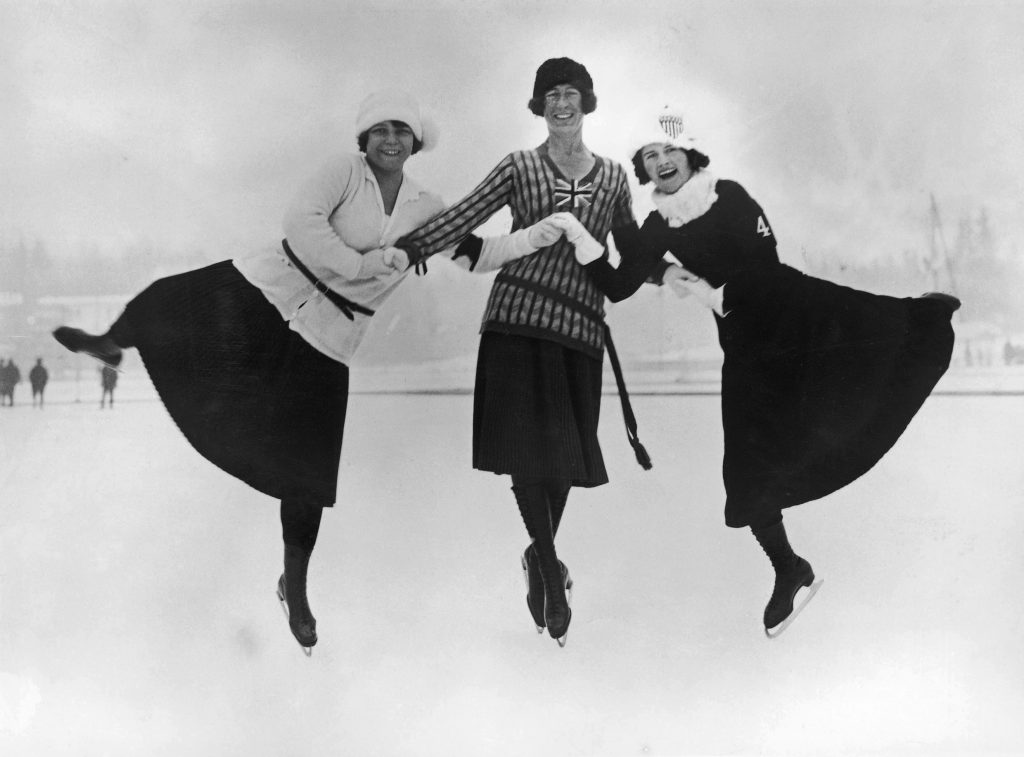 Figure skaters at the 1924 winter Olympics in Chamonix, France, 30th January 1924. Left to right: Herma Planck-Szabo of Hungary, Ethel Muckelt of Britain and Beatrix Loughran of the U.S.A. Planck-Szabo won gold, with Loughran and Muckelt taking silver and bronze respectively. (Photo by Topical Press Agency/Hulton Archive/Getty Images)