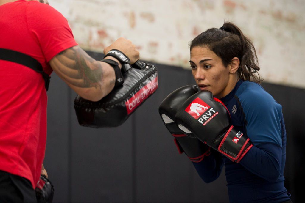 DALLAS, TX - MAY 11: Jessica Andrade holds an open workout for the fans and media at Mohler MMA - Brazilian Jiu-Jitsu & Boxing on May 11, 2017 in Dallas, Texas. (Photo by Cooper Neill/Zuffa LLC/Zuffa LLC via Getty Images)