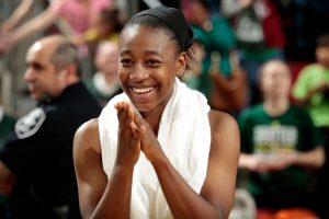 SEATTLE, WA - MAY 14: Jewell Loyd #24 of the Seattle Storm looks on during the game against the Indiana Fever on May 14, 2017 at Key Arena in Seattle, Washington. NOTE TO USER: User expressly acknowledges and agrees that, by downloading and/or using this Photograph, user is consenting to the terms and conditions of Getty Images License Agreement. Mandatory Copyright Notice: Copyright 2017 NBAE (Photo by Joshua Huston/NBAE via Getty Images)
