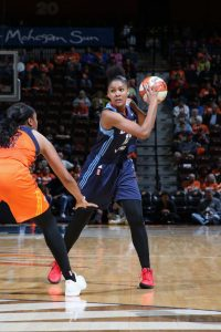 UNCASVILLE, CT - MAY 13: Damiris Dantas #12 of the Atlanta Dream handles the ball against the Connecticut Sun on May 13, 2017 at Mohegan Sun Arena in Uncasville, Connecticut. NOTE TO USER: User expressly acknowledges and agrees that, by downloading and or using this photograph, User is consenting to the terms and conditions of the Getty Images License Agreement. Mandatory Copyright Notice: Copyright 2017 NBAE (Photo by Chris Marion/NBAE via Getty Images)