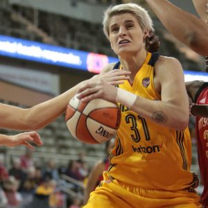 INDIANAPOLIS, IN - MAY 02: Nadia Colhado #31 of the Indiana Fever handles the ball against the Washington Mystics on May 2, 2017 at Indiana Farmers Coliseum in Indianapolis, Indiana. NOTE TO USER: User expressly acknowledges and agrees that, by downloading and/or using this Photograph, user is consenting to the terms and conditions of the Getty Images License Agreement. Mandatory Copyright Notice: Copyright 2017 NBAE (Photo by Ron Hoskins/NBAE via Getty Images)
