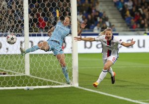 LYON, FRANCE - APRIL 29: Eugenie Le Sommer of Olympique Lyon celebrates her disallowed goal during the UEFA Women's Champions League Semi Final second leg match between Olympique Lyon and Manchester City at the Stade de Lyon on April 29, 2017 in Lyon, France. (Photo by Christopher Lee/Getty Images)