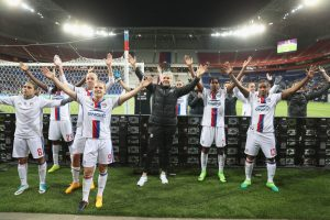 LYON, FRANCE - APRIL 29: Olympique Lyon players celebrate with their fans at the end of the game during the UEFA Women's Champions League Semi Final second leg match between Olympique Lyon and Manchester City at the Stade de Lyon on April 29, 2017 in Lyon, France. (Photo by Christopher Lee/Getty Images)