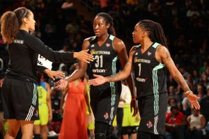 NEW YORK, NY - JUNE 2: Tina Charles #31 and Shavonte Zellous #1 of the New York Liberty celebrate during a game against the Dallas Wings on June 2, 2017 at Madison Square Garden in New York, New York. NOTE TO USER: User expressly acknowledges and agrees that, by downloading and/or using this photograph, user is consenting to the terms and conditions of the Getty Images License Agreement. Mandatory Copyright Notice: Copyright 2017 NBAE (Photo by Ned Dishman/NBAE via Getty Images)