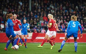 SLAGELSE, DENMARK - APRIL 11: Pernille Harder of Denmark scores the 1-0 goal during the international friendly match between Denmark women and Finland women at Slagelse Stadion on April 11, 2017 in Slagelse, Denmark. (Photo by Lars Ronbog / FrontZoneSport via Getty Images)