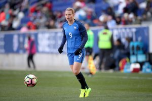 HARRISON, NEW JERSEY- MARCH 4: Eugénie Le Sommer #9 of France in action during the France Vs Germany SheBelieves Cup International match at Red Bull Arena on March 4, 2017 in Harrison, New Jersey. (Photo by Tim Clayton/Corbis via Getty Images)