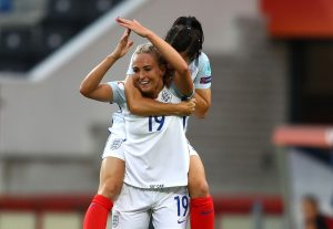 TILBURG, NETHERLANDS - JULY 27: Toni Duggan of England celebrates after scoring her team's first goal of the game during the UEFA Women's Euro 2017 Group D match between Portugal and England at Koning Willem II Stadium on July 27, 2017 in Tilburg, Netherlands. (Photo by Dean Mouhtaropoulos/Getty Images)